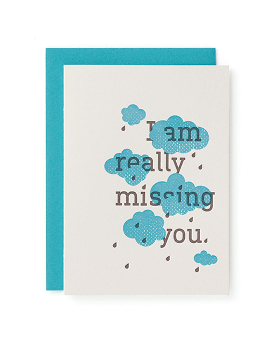 """I'm really missing you."" Mayday Press greeting card"
