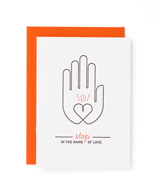 """Stop - in the name of love."" Mayday Press greeting card"