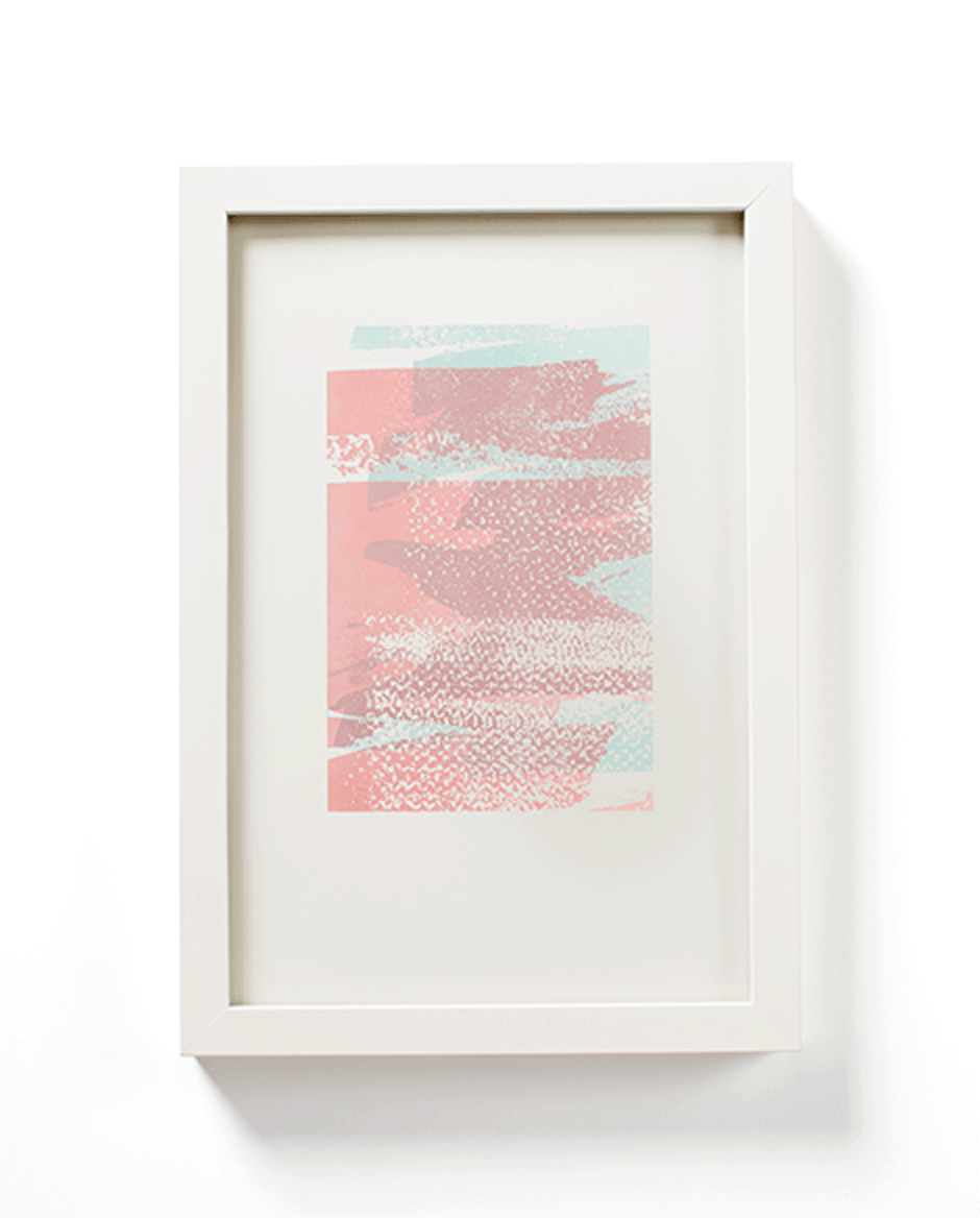 Blue + Pink Abstract Texture by Mayday Press. White frame.