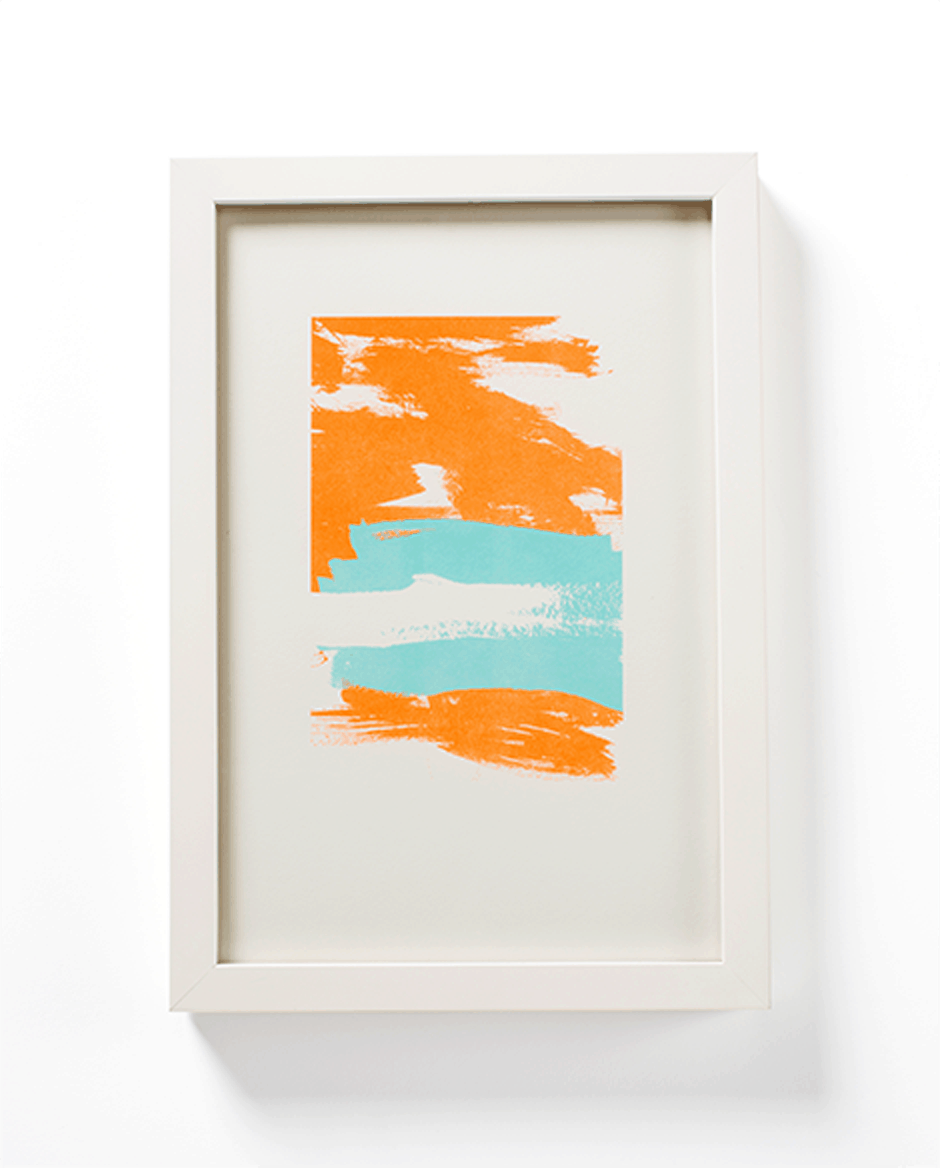 Blue + orange paint stroke painting by Mayday Press. White frame.