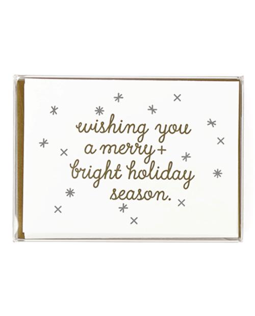 """Wishing you a merry + bright holiday season."" Greeting card by Mayday Press"
