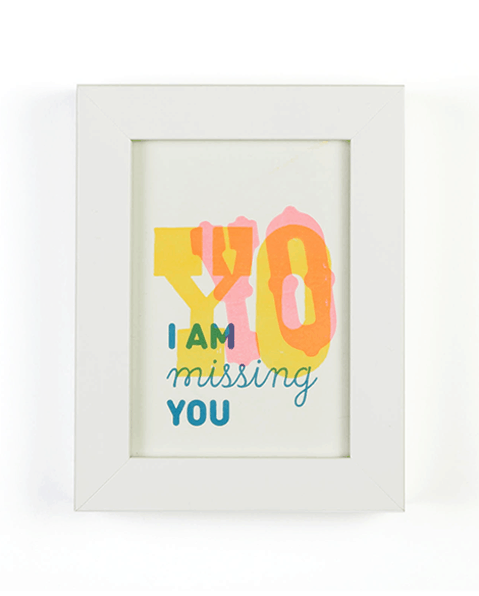 """Yo/ I'm missing you"" greeting card set by Mayday Press"